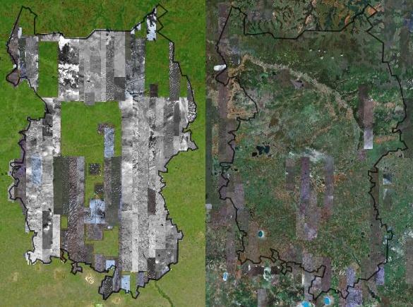 Покрытие Омской области на DigitalGlobe (слева) и Google Maps (справа)