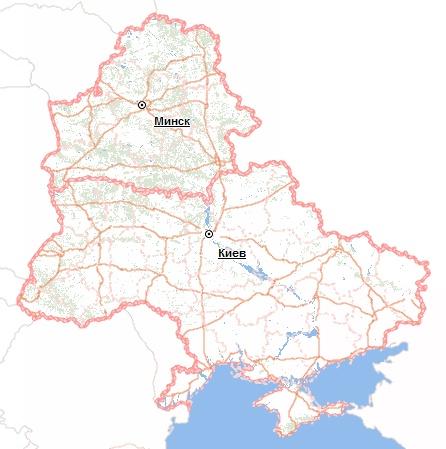 Карта Украины и Белоруссии от Визиком