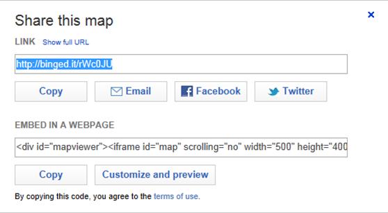 Поделиться ссылкой на карту Bing