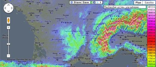 Топографическая карта Франции на базе Google Maps